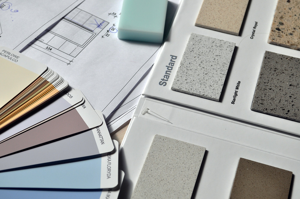 Imovel alugado - Palheta de cores e exemplos de revestimentos