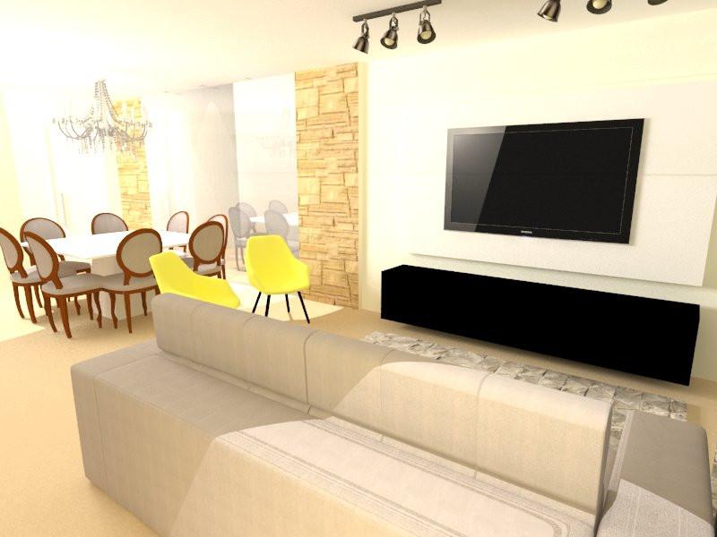 Design de interiores de uma sala de estar e jantar apartamento.