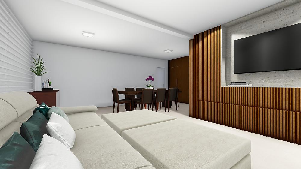 Ambiente integrado - Sala de estar junto com a sala de jantar, com elementos de madeira e uso de tonalidade clara