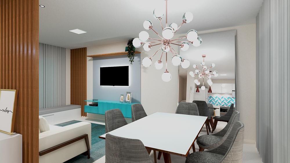 Ambiente integrado - Sala de jantar em união com a sala de estar, presença de um lustre e fita led atrás da tv, além de móveis de tonalidade azul