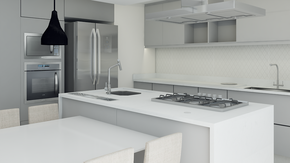 Ambiente Integrado - Cozinha integrada com a mesa de jantar, uso de tons claros e presença de iluminação natural