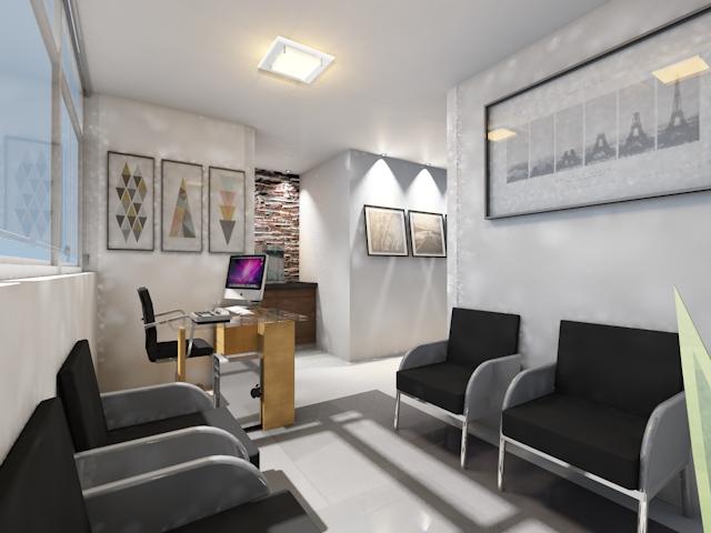 Design de interiores de uma recepção consultório odontológico.