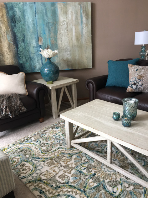 teal, white and rich browns