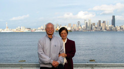 Gramps with Seattle skyline 11.02
