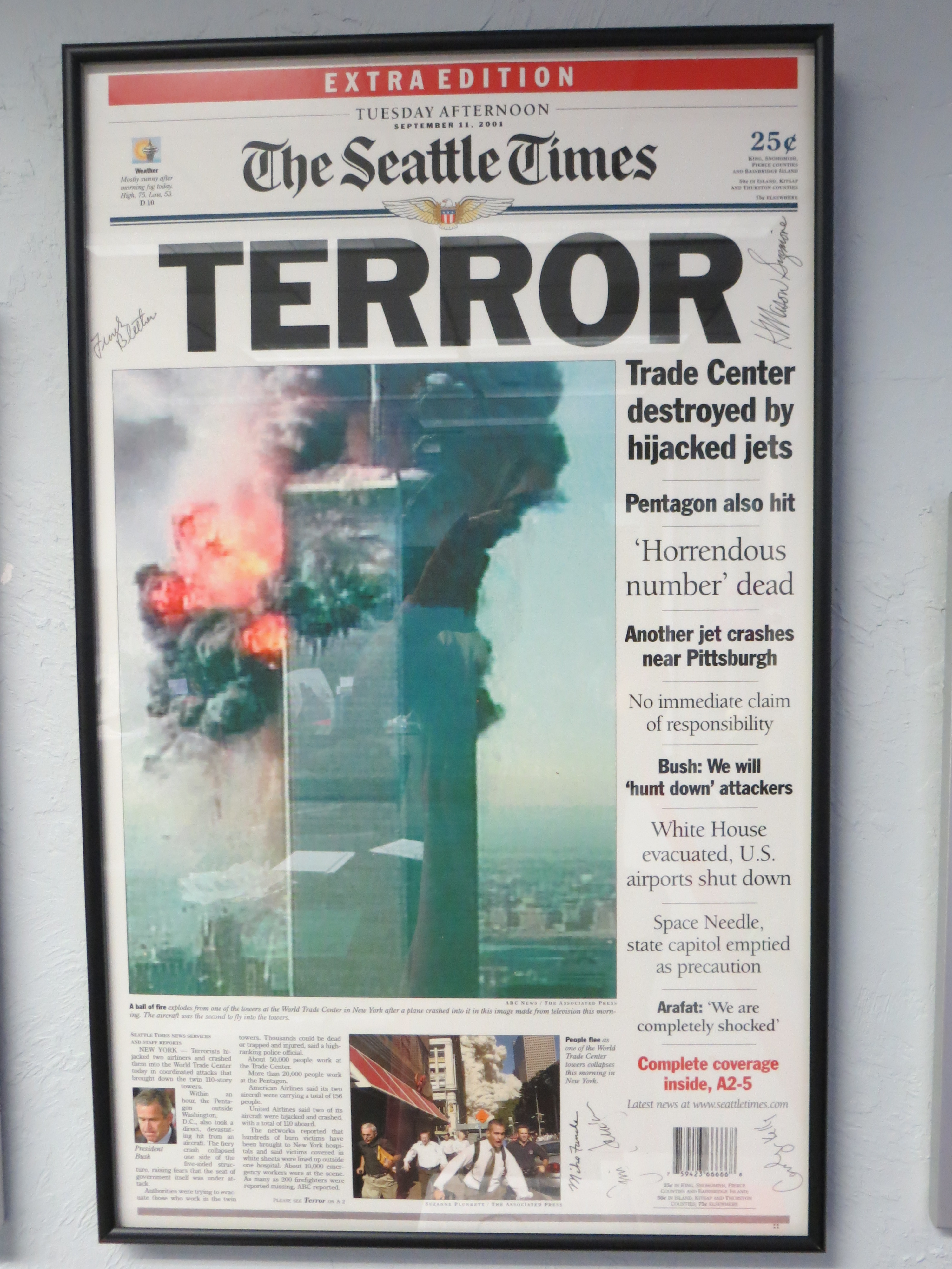 9/11 Seattle Times front page