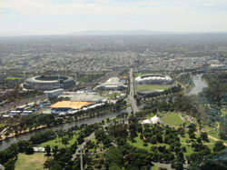 Melbourne Eureka  tower best tennis complex w cricket on left and Mt Dandenong in background MM 2016