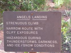 Angels landing warning Zion Utah