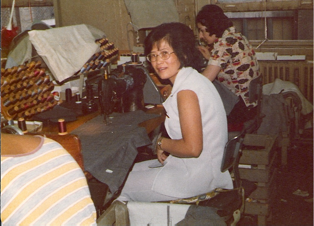 Grandma at sewing station