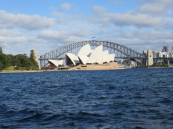 Sydney opera house and bridge best from Mrs. Macquaries point