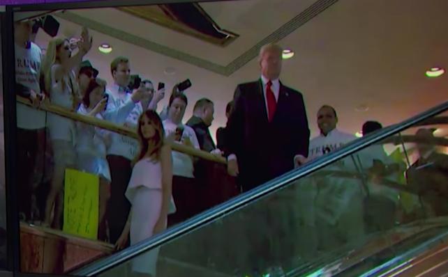 Trump descends on escalator
