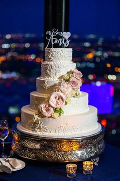 Wedding cake at reception in Dallas Texas