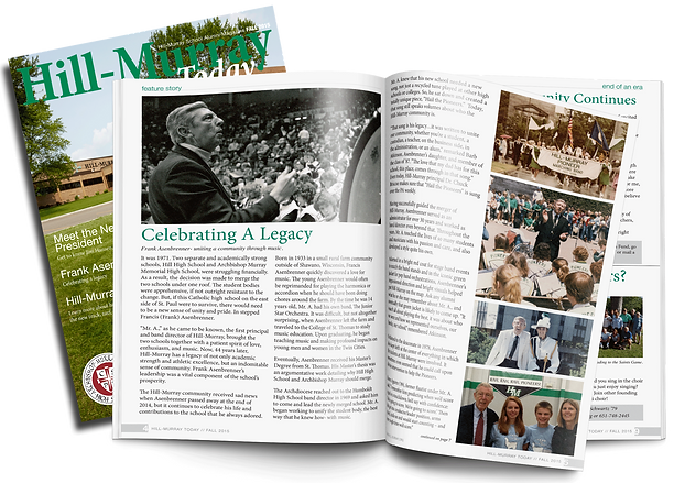 Hill-Murray Alumni magazine, print design