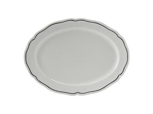 "Charleston Blue Band Oval Platter 10-1/2"""