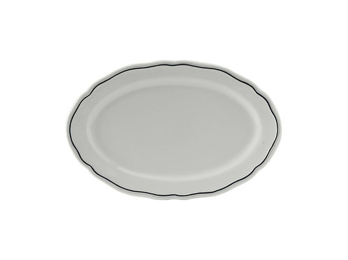 "Charleston Blue Band Oval Platter 9"""