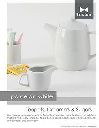 Porcelain White Teapots, Creamers & Sugars