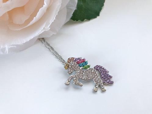 Unicorn Rhinestone Necklace - Rainbow