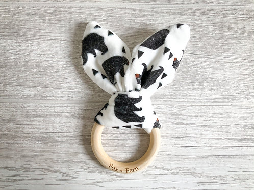 Bunny Ear Teething Rattle - Black & White with Bears