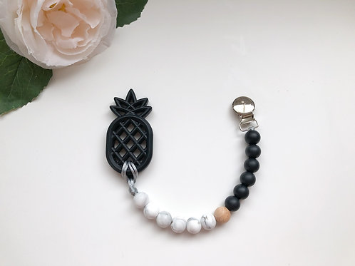 Black & Marble Soother Clip with Pineapple Teether