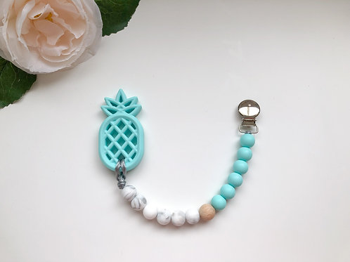 Blue & Marble Soother Clip with Pineapple Teether