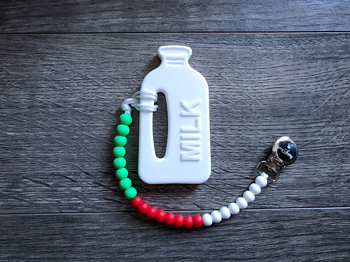 Soother Clip - Green, Red & White with Milk Teether