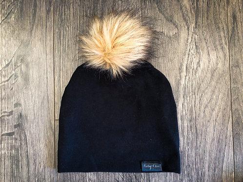 Slouch Beanie w/ Faux Fur Pompom - Black