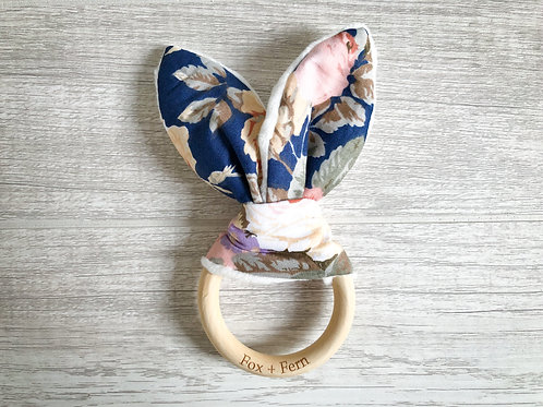 Bunny Ear Teething Rattle - Floral