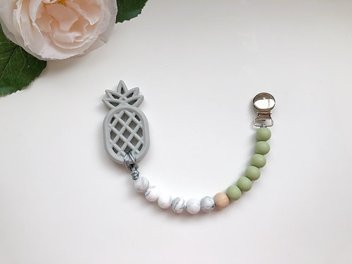 Green & Marble Soother Clip with Pineapple Teether