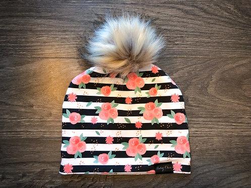 Slouch Beanie w/ Faux Fur Pompom - Black Stripes with Floral