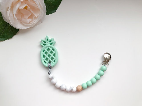 Mint & Marble Soother Clip with Pineapple Teether