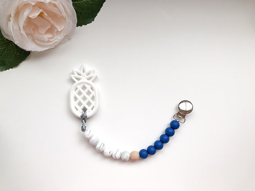 Navy & Marble Soother Clip with Pineapple Teether