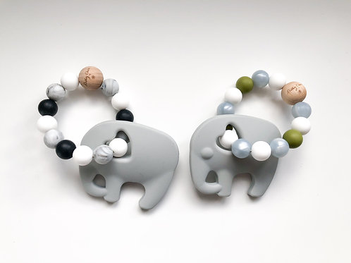 Elephant Teether Baby Rattle with Natural Wood Bead