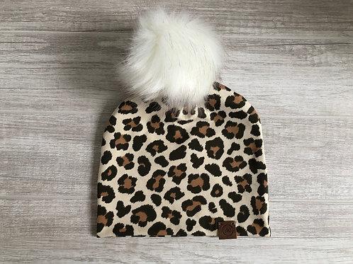 Slouch Beanie w/ Faux Fur Pompom - Leopard