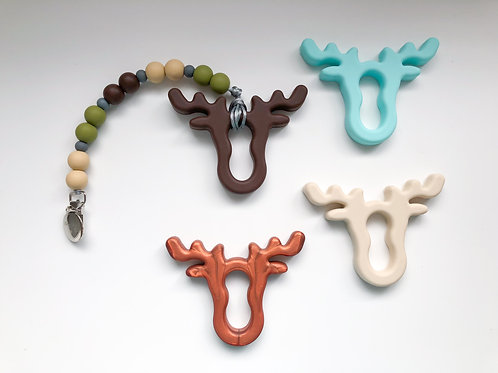 Camo Pacifier Clip with Moose Teether