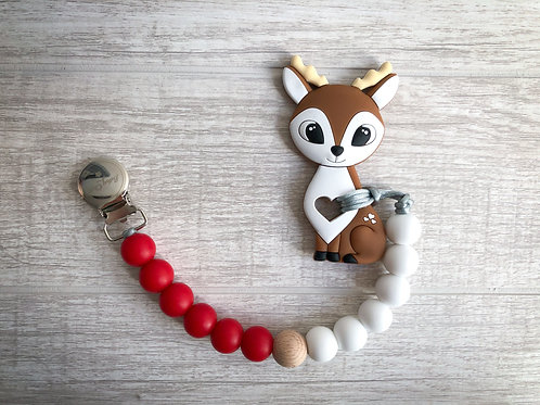 Soother Clip - Red & White with Reindeer Teether