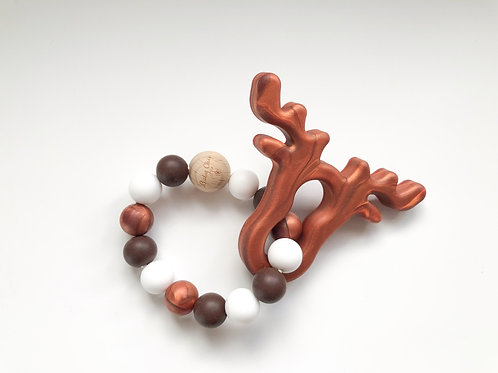 Moose Teether Baby Rattle with Natural Wood Bead