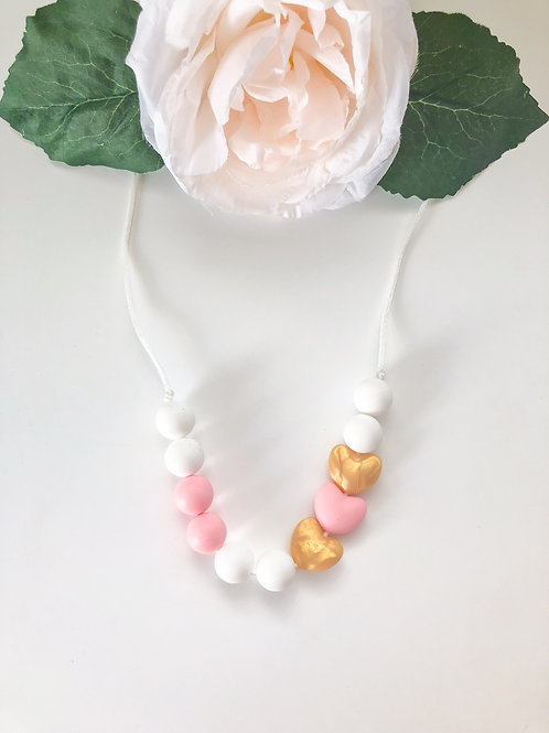 Pink & Gold Heart Teething Necklace