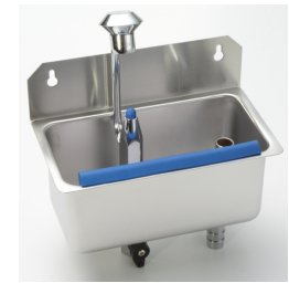 Cleaning sink with scoop shower for wall mounting
