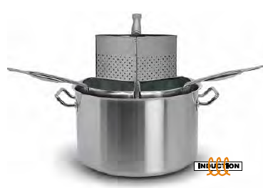 9037  Pasta pot with 3 strainers in micro-perforat