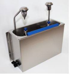 Cleaning sink with scoop dryer and scoop shower