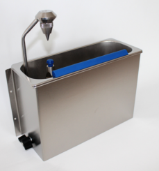 Cleaning sink with scoop dryer adjustable for wall