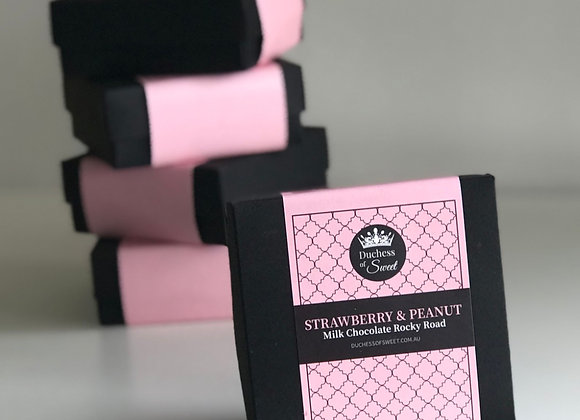 Strawberry & PeanutMilk Chocolate Rocky Road 150g