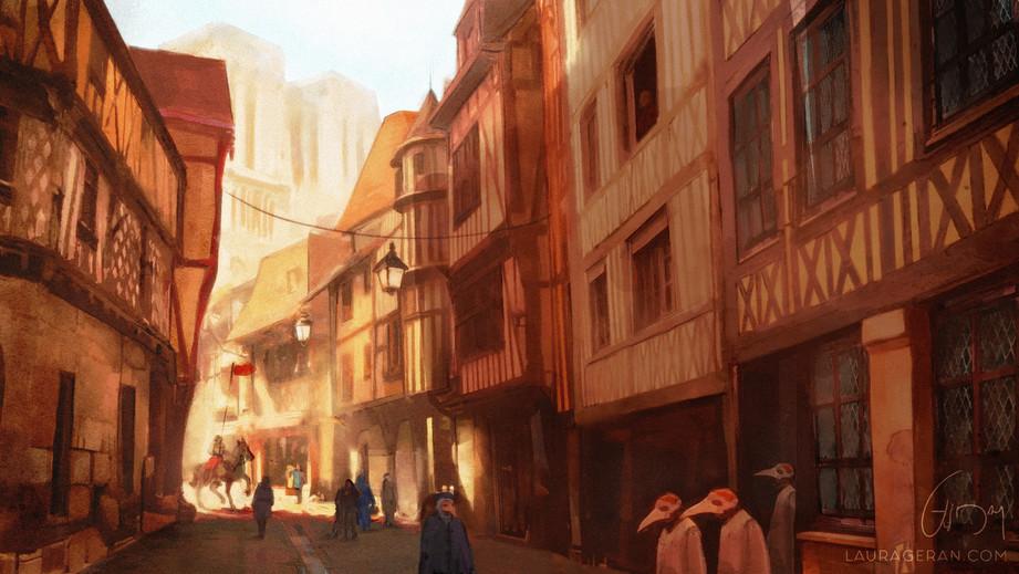 Paris Middle age road, concept art