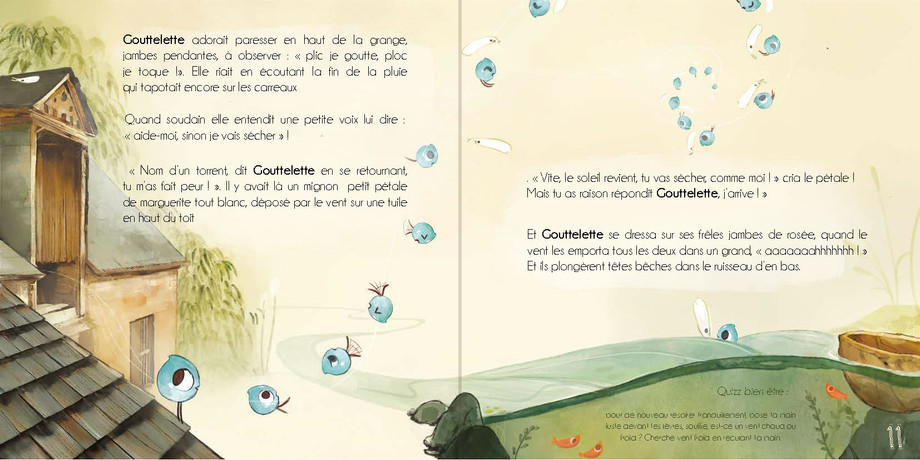 """""""Gouttelette"""" Child book first double pages"""