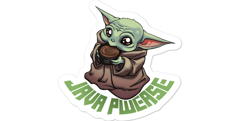 """ANDY MCFLY BABY YODA """"JAVA PWEASE"""" EXCLUSIVE DIE-CUT STICKERS"""