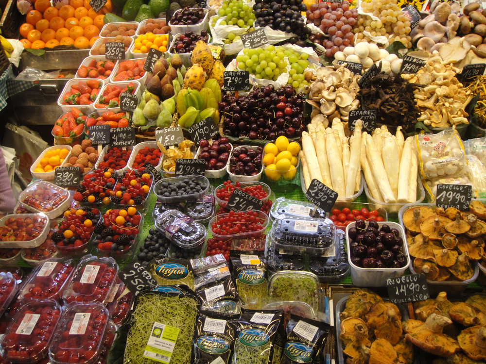 Fruits and vegetables in market.