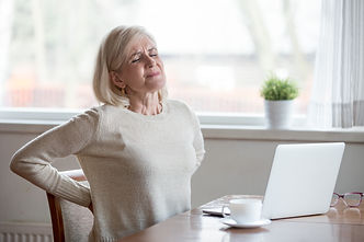 Upset mature middle aged woman feels bac