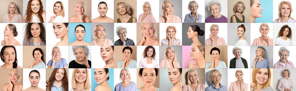 Collage of women with beautiful faces ag
