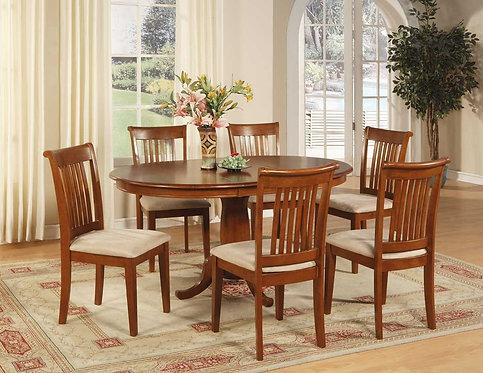 Comedor ovalado, mesa con extensión y 6 sillas