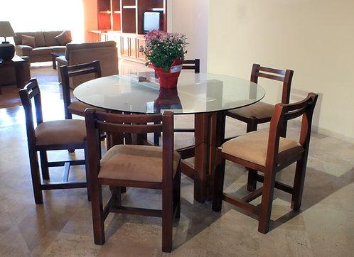Mesa para comedor cubierta de cristal 140 cm diam