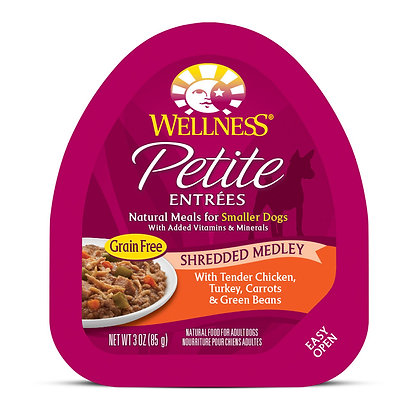 Wellness Petite Entrees Shredded Medley Tender Chicken, Turkey 3oz